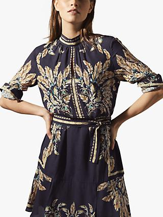 Reiss Maria Abstract Print Flared Mini Dress, Navy/Multi