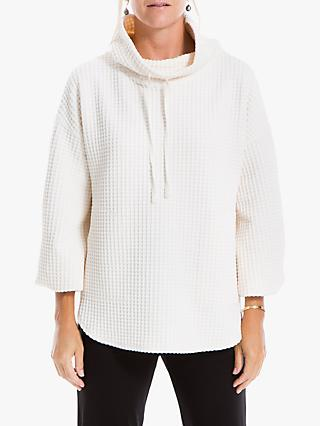 Max Studio Waffle Knit Funnel Neck Top, Winter White