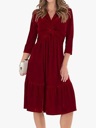 Jolie Moi Velvet Twist Front Midi Dress, Red