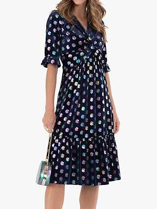 Jolie Moi Twist Front Metallic Spot Print Velvet Dress, Navy/Multi