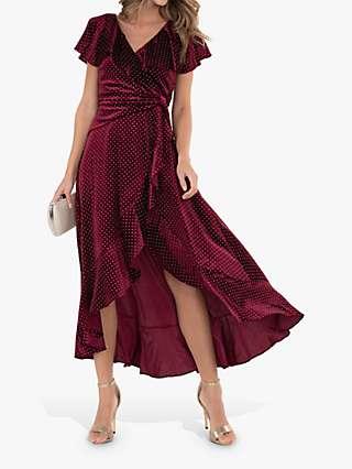 Jolie Moi Metallic Spot Print Velvet Dress, Burgundy