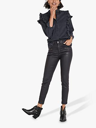 hush Denim Frill Blouse, Washed Black