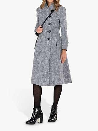 Jolie Moi Textured Longline Asymmetric Button Coat, Grey