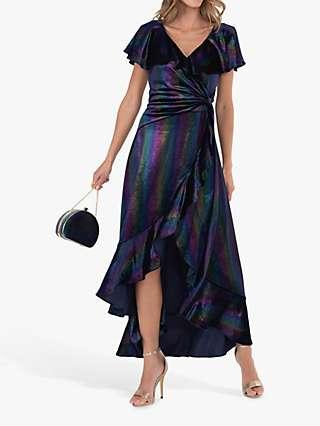 Jolie Moi Stripe Print Asymmetric Ruffle Velvet Dress, Navy/Multi