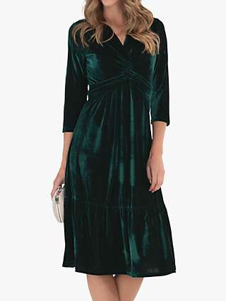 Jolie Moi 3/4 Sleeve Velvet Dress, Dark Green