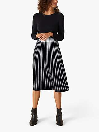 Monsoon Contrast Stripe Midi Dress, Navy