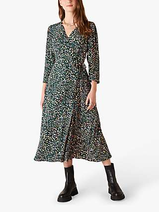 Monsoon Floral Midi Dress, Green