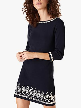 Monsoon Cornelli Detail Shift Dress, Navy
