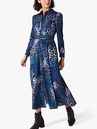 Monsoon Andrea Animal Print Shirt Dress, Cobalt