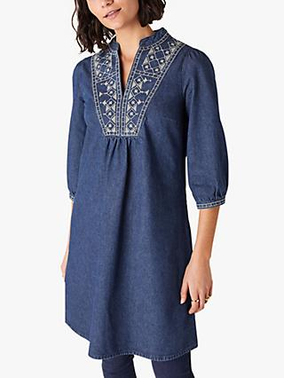Monsoon Embroidered Denim Dress, Indigo