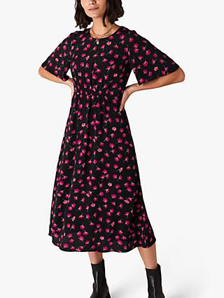 Monsoon Abstract Print Midi Dress, Black/Pink
