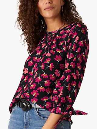 Monsoon Abstract Floral Tie Detail Blouse, Black/Multi
