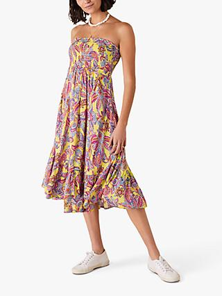 Monsoon Bandeau Floral Midi Dress, Yellow