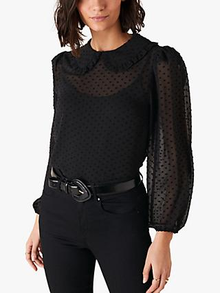 Monsoon Dobby Blouse, Black