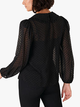 Buy Monsoon Dobby Blouse, Black, S Online at johnlewis.com