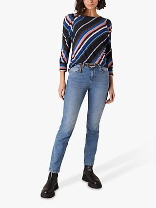 Monsoon Striped Smart Top, Black