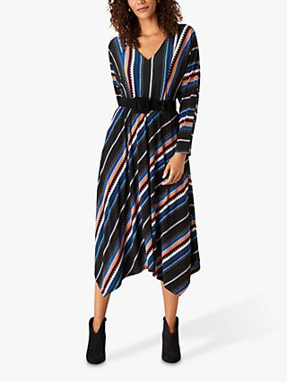 Monsoon Stripe Belted Midi Dress, Multi