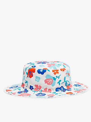 John Lewis & Partners Kids' Organic Cotton Reversible Floral Sun Hat, Blue/White