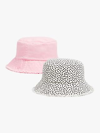 John Lewis & Partners Kids' Cotton Bucket Hats, Pack of 2, Multi