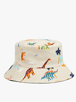 John Lewis & Partners Kids' Organic Cotton Reversible Dinosaur Bucket Hat, Multi