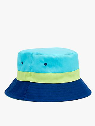 John Lewis & Partners Kids' Organic Cotton Colour Block Reversible Bucket Hat, Blue
