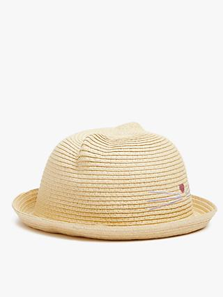 John Lewis & Partners Kids' Cat Straw Hat, Neutral