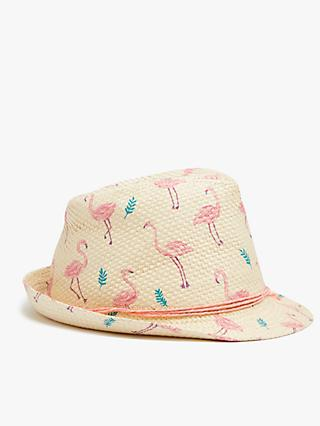 John Lewis & Partners Kids' Flamingo Straw Trilby Hat, Neutral