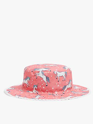 John Lewis & Partners Kids' Organic Cotton Reversible Unicorn Sun Hat, Blue/Pink