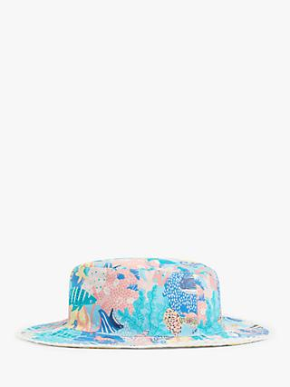 John Lewis & Partners Kids' Organic Cotton Under The Sea Sun Hat, Blue