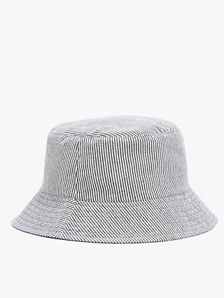 John Lewis & Partners Kids' Organic Cotton Reversible Stripe Bucket Hat, Blue