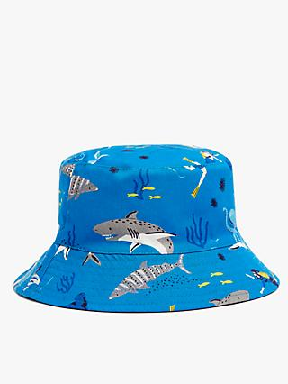 John Lewis & Partners Kids' Organic Cotton Reversible Shark Bucket Hat, Blue