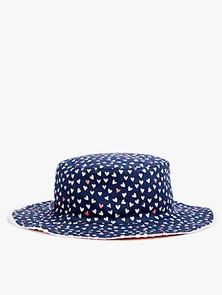 John Lewis & Partners Kids' Organic Cotton Reversible Heart Sun Hat, Blue/Pink