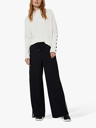 Mint Velvet Stripe Side Trousers, Black