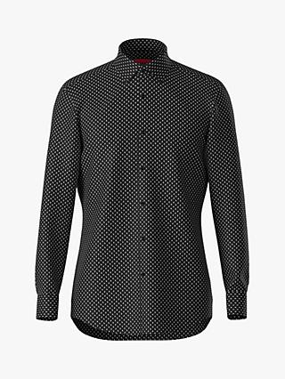 HUGO by Hugo Boss Kenno Micro Pattern Slim Fit Shirt, Black