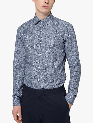 HUGO by Hugo Boss Kenno Micro Print Slim Fit Shirt, Medium Blue