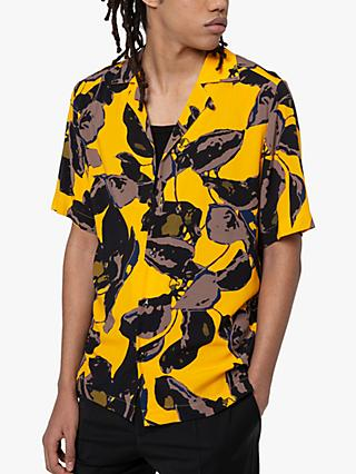BOSS Efab Abstract Floral Print Short Sleeve Shirt, Bright Orange