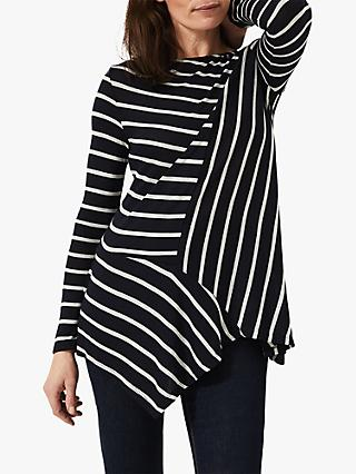 Phase Eight Clea Longline Striped Top, Navy/Grey