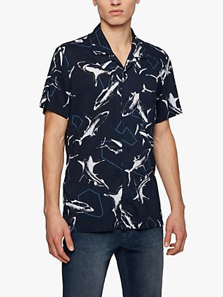 BOSS Rhythm Shark Print Short Sleeve Shirt, Dark Blue