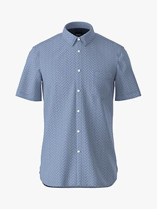 BOSS Magneton 1 Graphic Print Short Sleeve Shirt, Open Blue