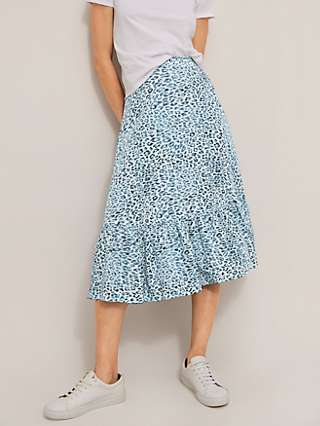 Somerset by Alice Temperley Ombre Leopard Tiered Skirt, Blue