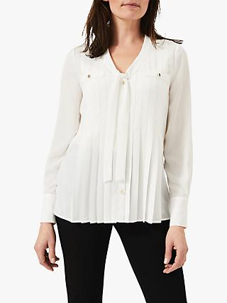 Phase Eight Philippa Pleated Blouse, Ivory