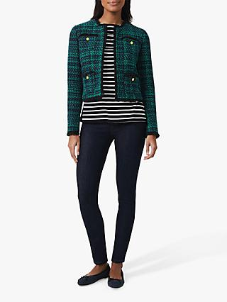 Hobbs Rosa Cropped Tweed Jacket, Navy/Apple Green