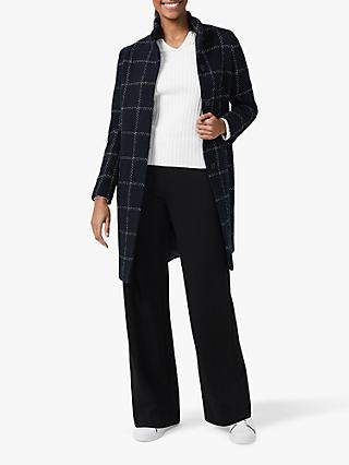 Hobbs Lisa Check Coat, Navy/Ivory