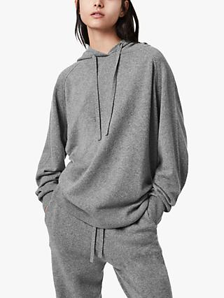 AllSaints Olly Cashmere Wool Blend Hoodie, Grey Marl
