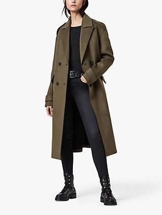 AllSaints Rene Wool Blend Military Coat, Khaki Green