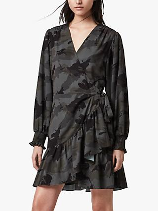 AllSaints Fina Camo Mini Dress, Khaki Green