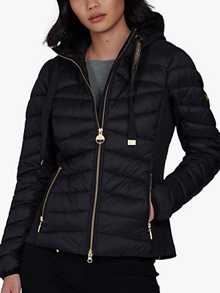 Barbour International Grid Hooded Quilted Jacket, Black