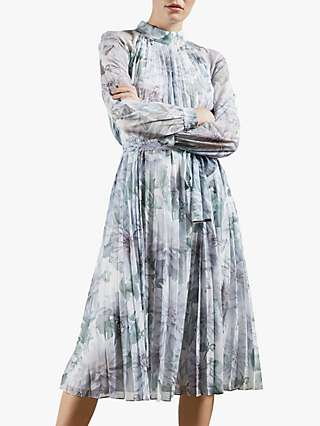 Ted Baker Clove Floral Print Pleated Midi Dress, White/Multi