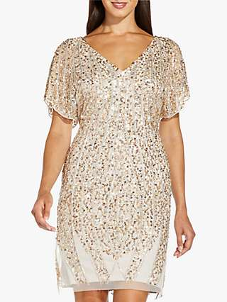 Adrianna Papell Beaded Embellished Cocktail Dress, Biscotti
