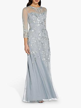 Adrianna Papell Beaded Ball Gown, Blue Heather